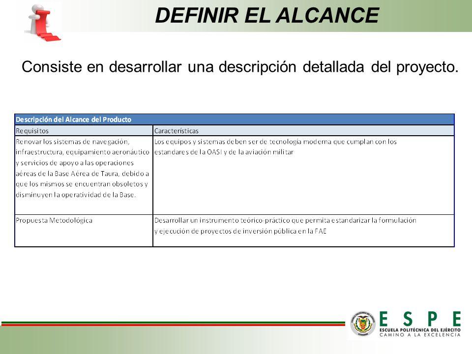 Consiste en desarrollar una descripción detallada del proyecto. DEFINIR EL ALCANCE