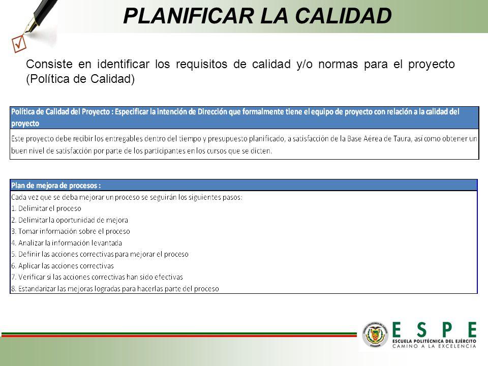 Consiste en identificar los requisitos de calidad y/o normas para el proyecto (Política de Calidad) PLANIFICAR LA CALIDAD