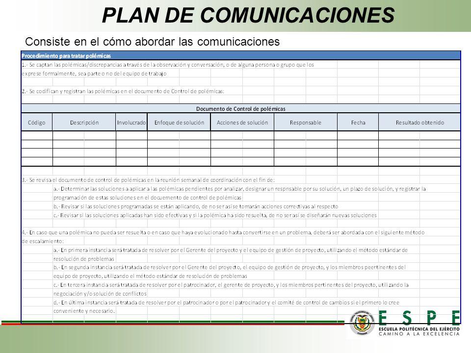 PLAN DE COMUNICACIONES Consiste en el cómo abordar las comunicaciones