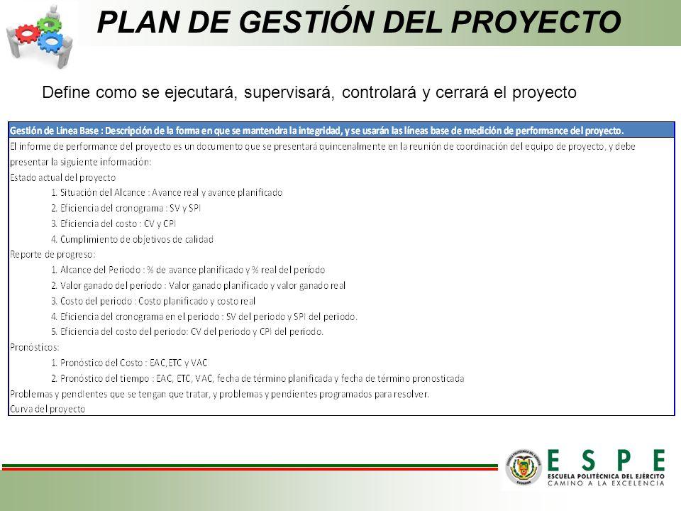 PLAN DE GESTIÓN DEL PROYECTO Define como se ejecutará, supervisará, controlará y cerrará el proyecto