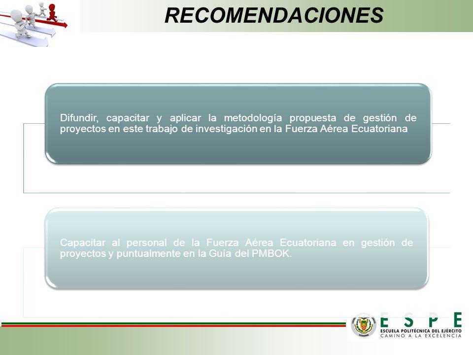 Difundir, capacitar y aplicar la metodología propuesta de gestión de proyectos en este trabajo de investigación en la Fuerza Aérea Ecuatoriana Capacit