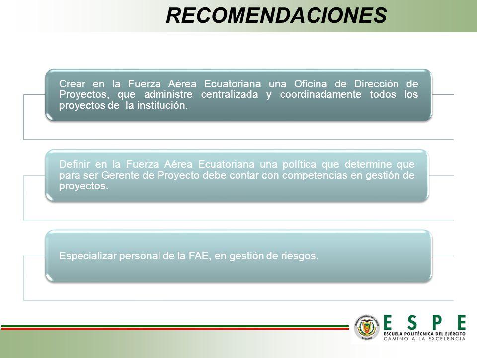 Crear en la Fuerza Aérea Ecuatoriana una Oficina de Dirección de Proyectos, que administre centralizada y coordinadamente todos los proyectos de la in