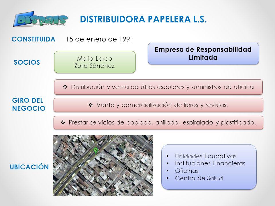 CONSTITUIDA Empresa de Responsabilidad Limitada GIRO DEL NEGOCIO UBICACIÓN DISTRIBUIDORA PAPELERA L.S. Venta y comercialización de libros y revistas.