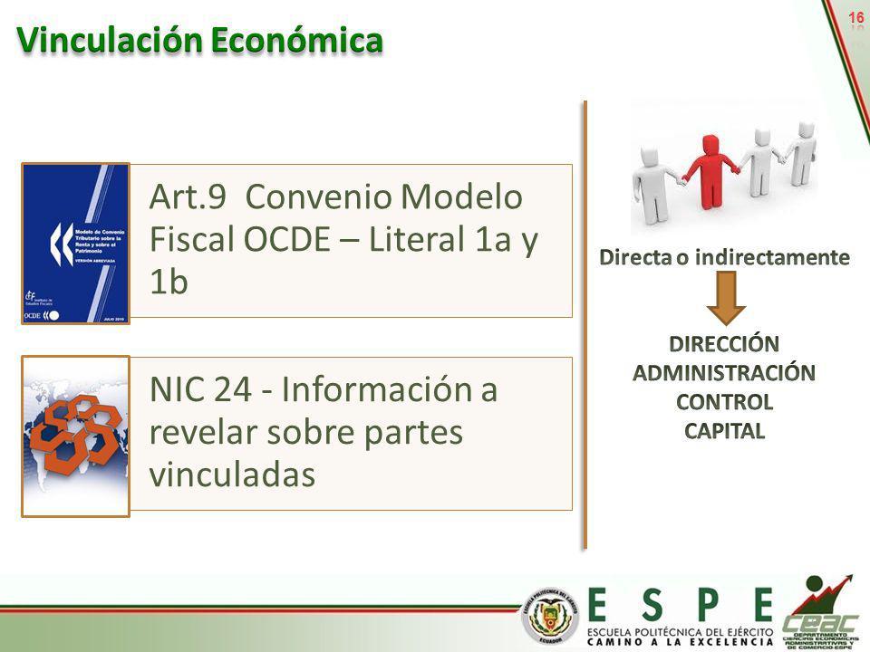 16 Art.9 Convenio Modelo Fiscal OCDE – Literal 1a y 1b NIC 24 - Información a revelar sobre partes vinculadas