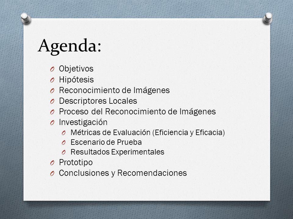 Agenda: O Objetivos O Hipótesis O Reconocimiento de Imágenes O Descriptores Locales O Proceso del Reconocimiento de Imágenes O Investigación O Métrica
