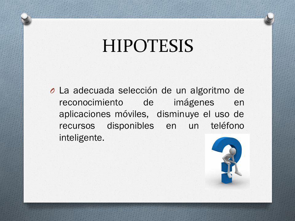 HIPOTESIS O La adecuada selección de un algoritmo de reconocimiento de imágenes en aplicaciones móviles, disminuye el uso de recursos disponibles en u