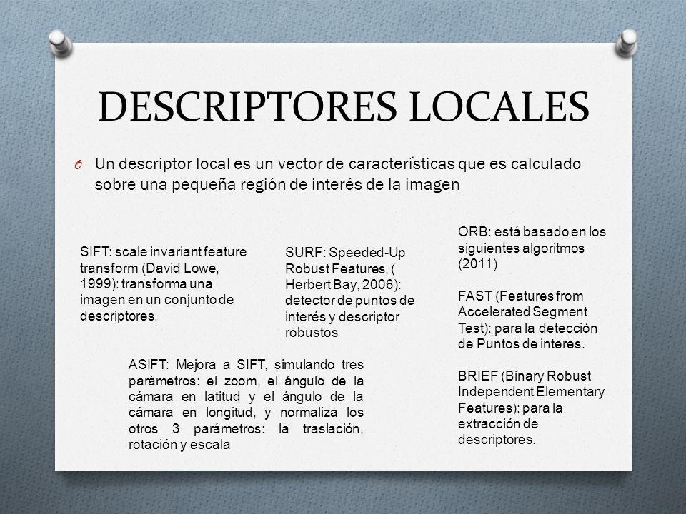 DESCRIPTORES LOCALES O Un descriptor local es un vector de características que es calculado sobre una pequeña región de interés de la imagen SIFT: sca