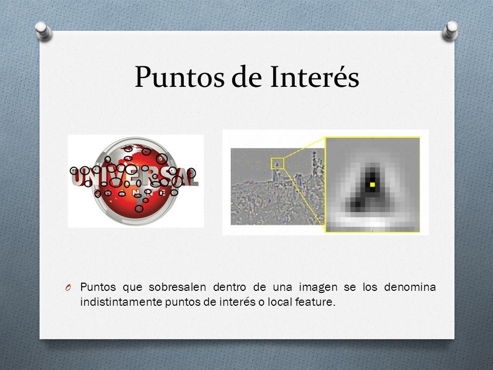 Puntos de Interés O Puntos que sobresalen dentro de una imagen se los denomina indistintamente puntos de interés o local feature.