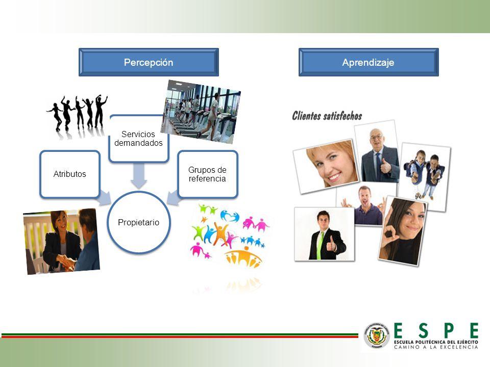 PercepciónAprendizaje Propietario Atributos Servicios demandados Grupos de referencia
