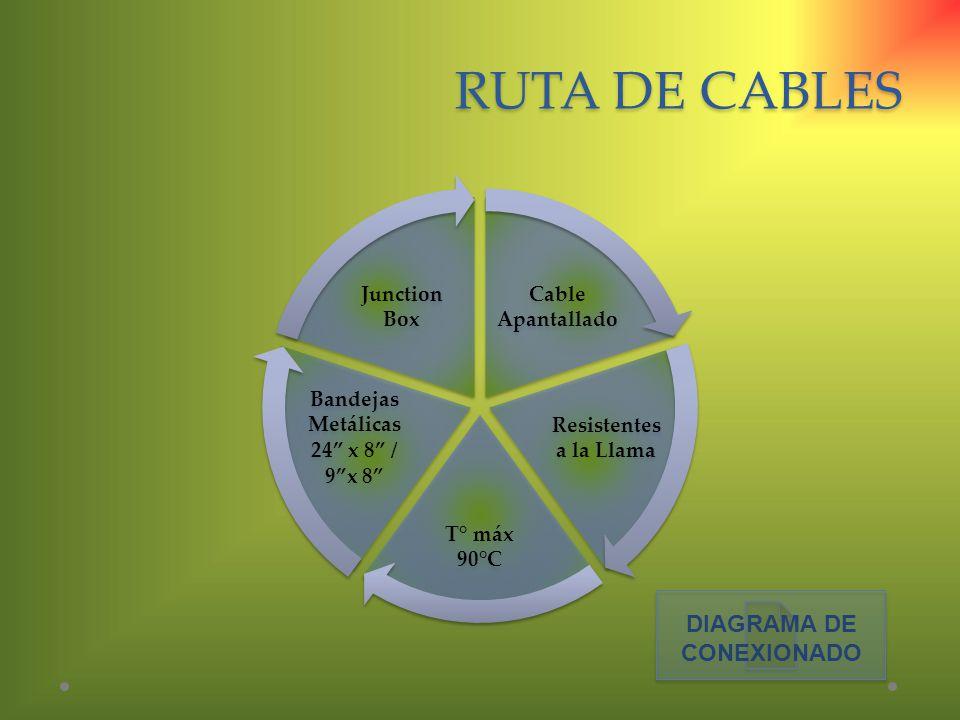 RUTA DE CABLES Cable Apantallado Resistentes a la Llama T° máx 90°C Bandejas Metálicas 24 x 8 / 9x 8 Junction Box DIAGRAMA DE CONEXIONADO