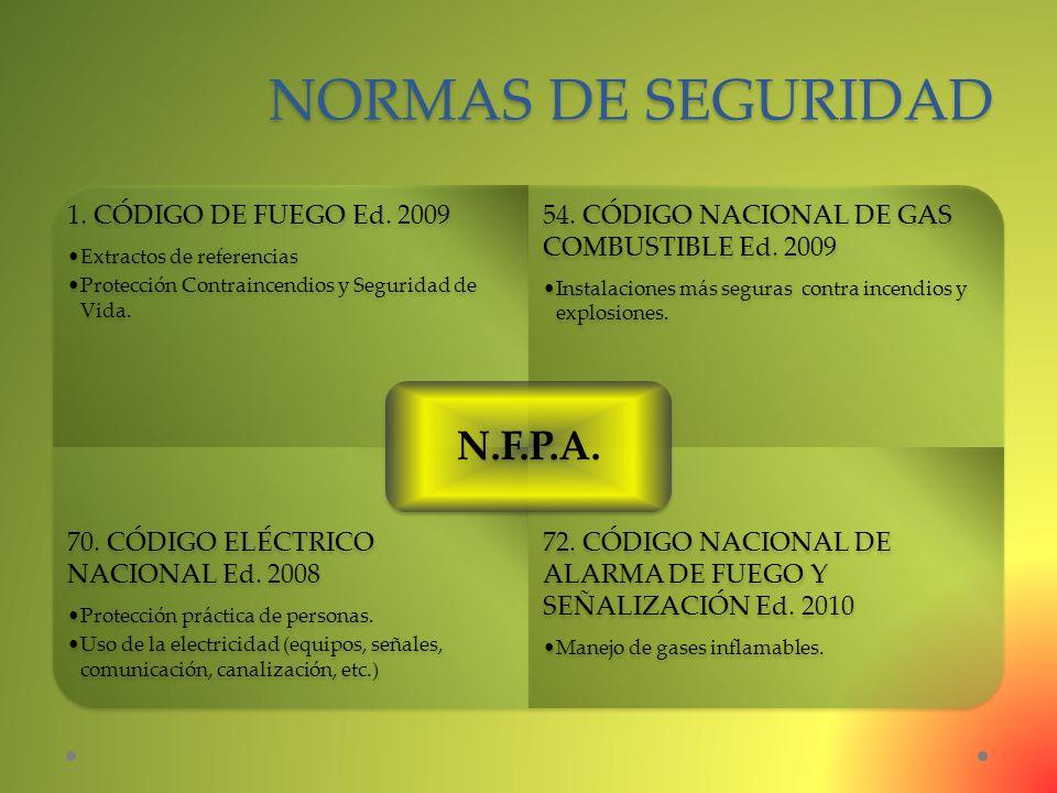 NORMAS DE SEGURIDAD 1. CÓDIGO DE FUEGO Ed. 2009 Extractos de referencias Protección Contraincendios y Seguridad de Vida. 54. CÓDIGO NACIONAL DE GAS CO