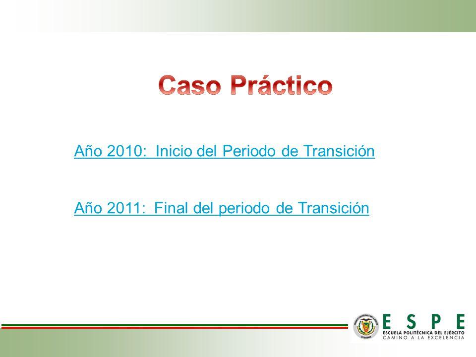 Año 2010: Inicio del Periodo de Transición Año 2011: Final del periodo de Transición