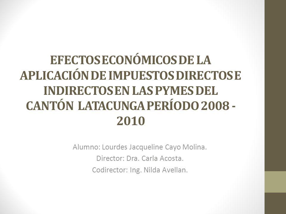 EFECTOS ECONÓMICOS DE LA APLICACIÓN DE IMPUESTOS DIRECTOS E INDIRECTOS EN LAS PYMES DEL CANTÓN LATACUNGA PERÍODO 2008 - 2010 Alumno: Lourdes Jacquelin