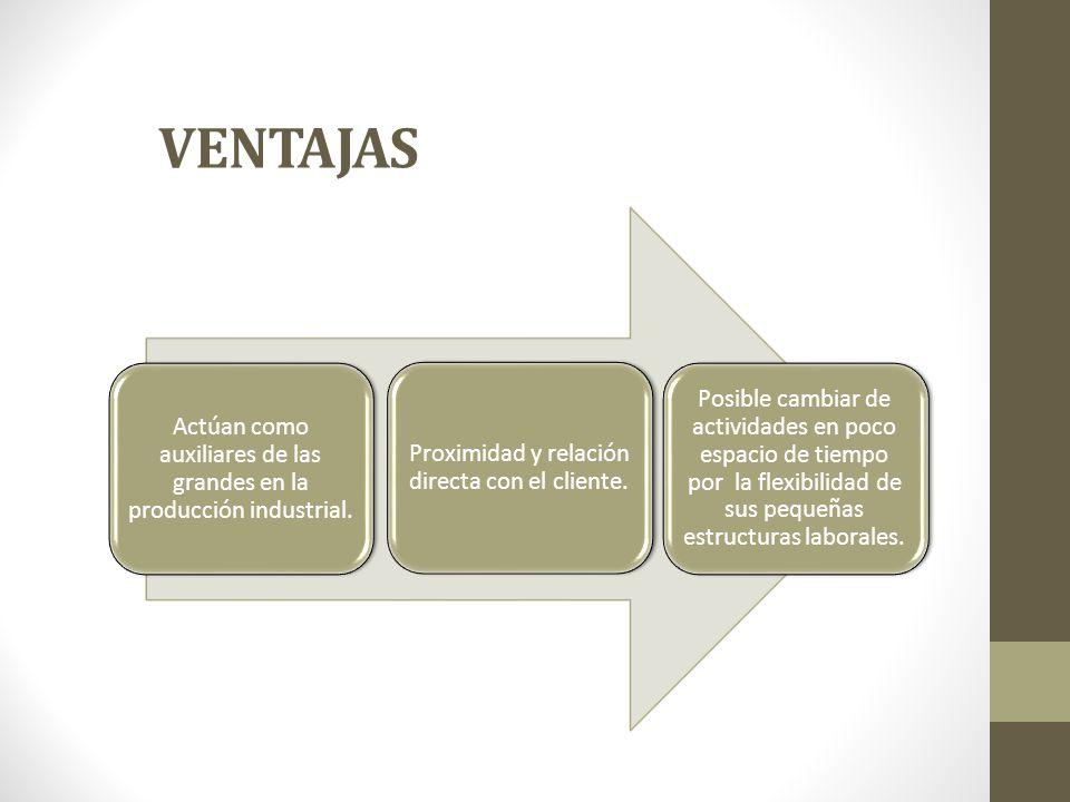 VENTAJAS Actúan como auxiliares de las grandes en la producción industrial. Proximidad y relación directa con el cliente. Posible cambiar de actividad