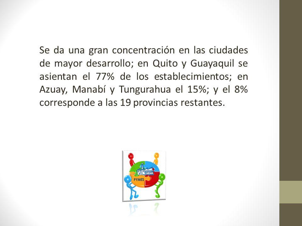 Se da una gran concentración en las ciudades de mayor desarrollo; en Quito y Guayaquil se asientan el 77% de los establecimientos; en Azuay, Manabí y