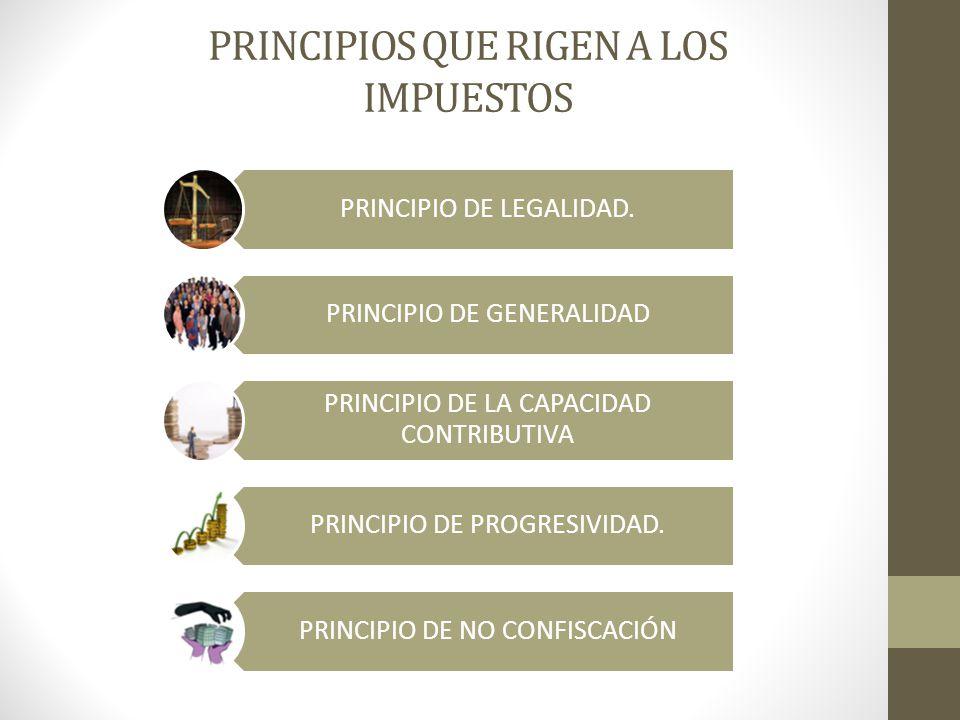 PRINCIPIOS QUE RIGEN A LOS IMPUESTOS PRINCIPIO DE LEGALIDAD. PRINCIPIO DE GENERALIDAD PRINCIPIO DE LA CAPACIDAD CONTRIBUTIVA PRINCIPIO DE PROGRESIVIDA