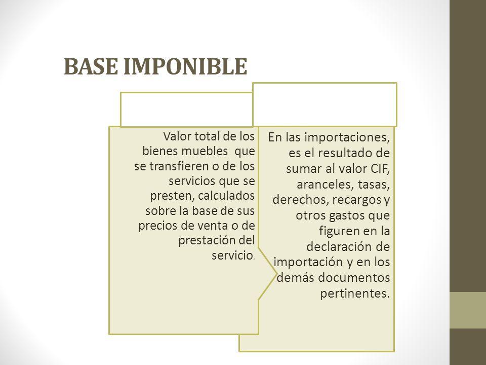 BASE IMPONIBLE En las importaciones, es el resultado de sumar al valor CIF, aranceles, tasas, derechos, recargos y otros gastos que figuren en la decl