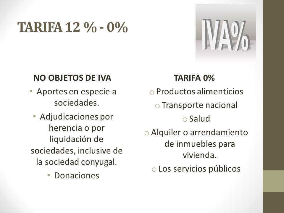 TARIFA 12 % - 0% NO OBJETOS DE IVA Aportes en especie a sociedades. Adjudicaciones por herencia o por liquidación de sociedades, inclusive de la socie