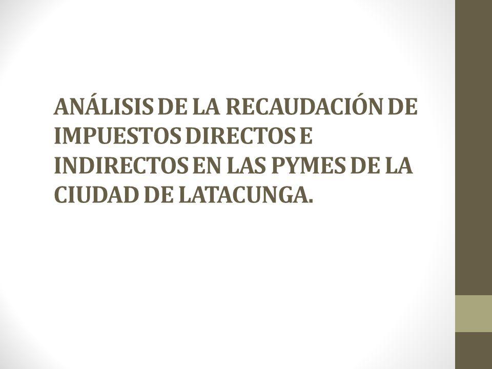 ANÁLISIS DE LA RECAUDACIÓN DE IMPUESTOS DIRECTOS E INDIRECTOS EN LAS PYMES DE LA CIUDAD DE LATACUNGA.