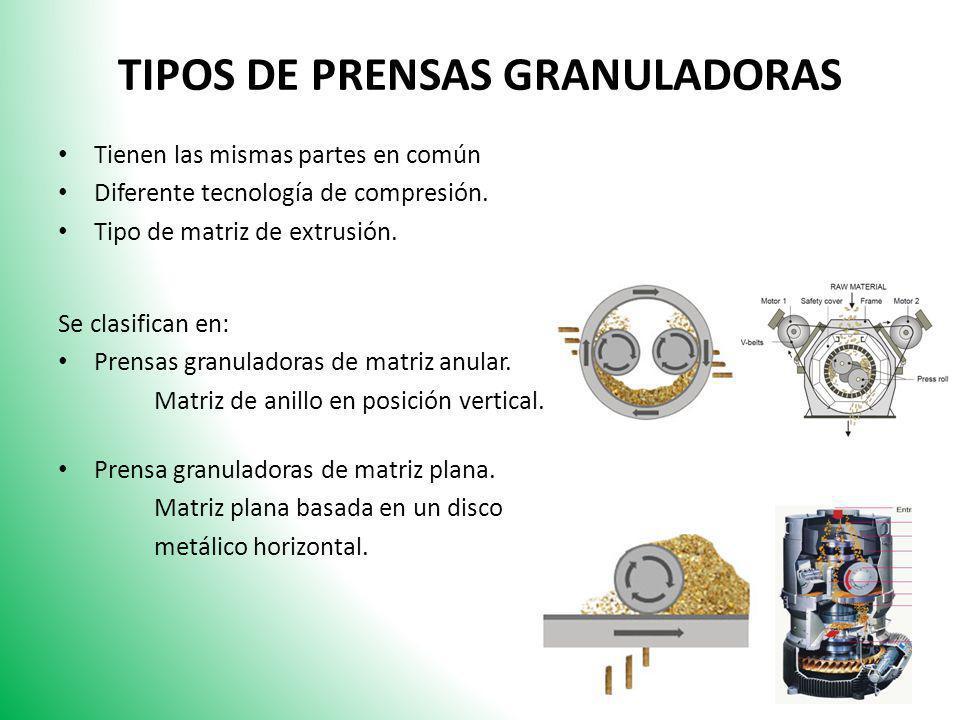TIPOS DE PRENSAS GRANULADORAS Tienen las mismas partes en común Diferente tecnología de compresión. Tipo de matriz de extrusión. Se clasifican en: Pre