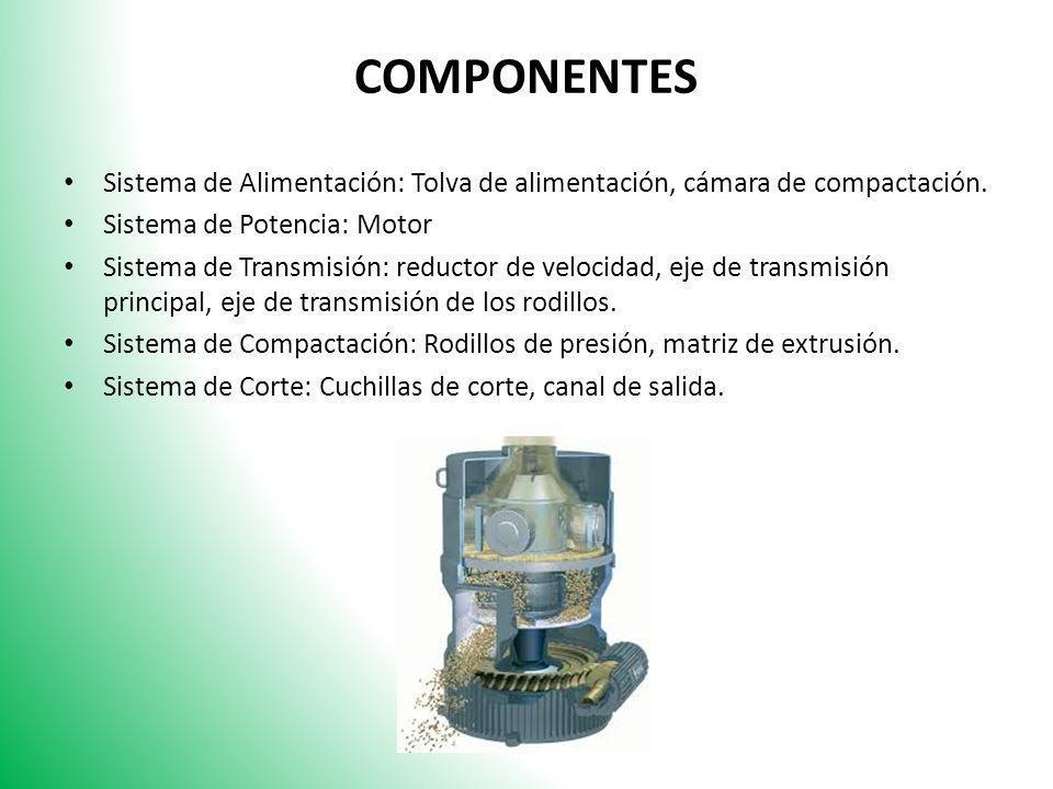 COMPONENTES Sistema de Alimentación: Tolva de alimentación, cámara de compactación. Sistema de Potencia: Motor Sistema de Transmisión: reductor de vel