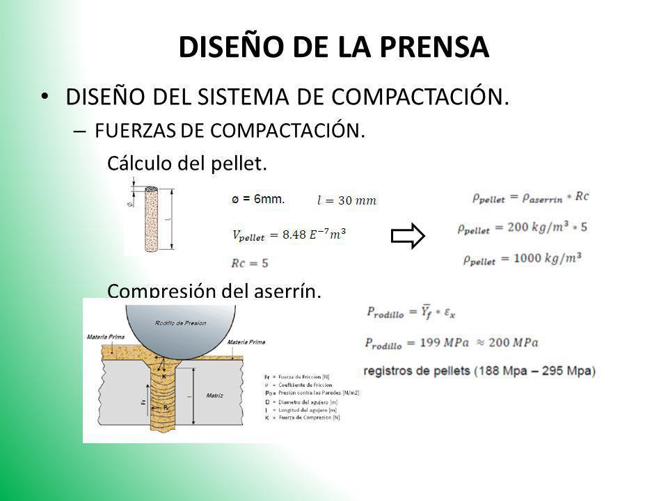 DISEÑO DE LA PRENSA DISEÑO DEL SISTEMA DE COMPACTACIÓN. – FUERZAS DE COMPACTACIÓN. Cálculo del pellet. Compresión del aserrín.