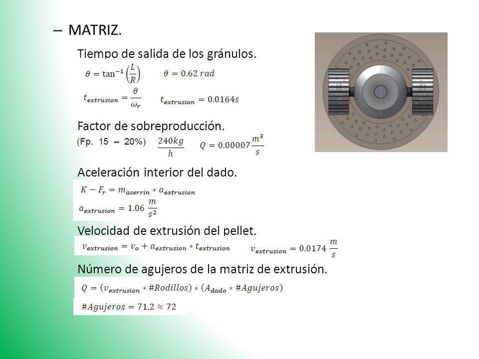 – MATRIZ. Tiempo de salida de los gránulos. Factor de sobreproducción. Aceleración interior del dado. Velocidad de extrusión del pellet. Número de agu