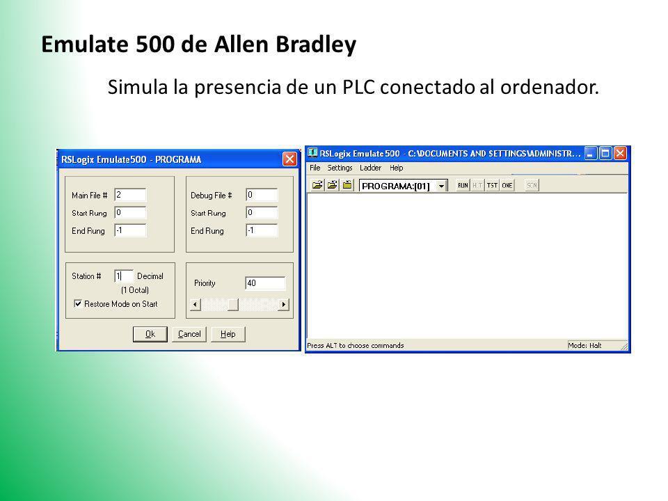 Emulate 500 de Allen Bradley Simula la presencia de un PLC conectado al ordenador.