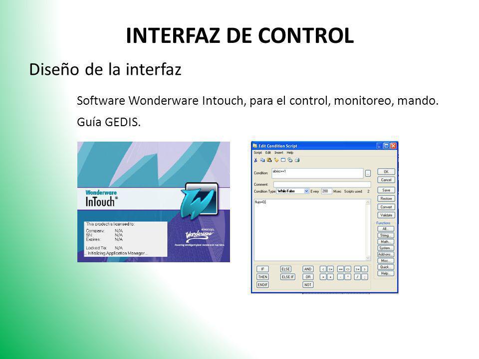 INTERFAZ DE CONTROL Diseño de la interfaz Software Wonderware Intouch, para el control, monitoreo, mando. Guía GEDIS.