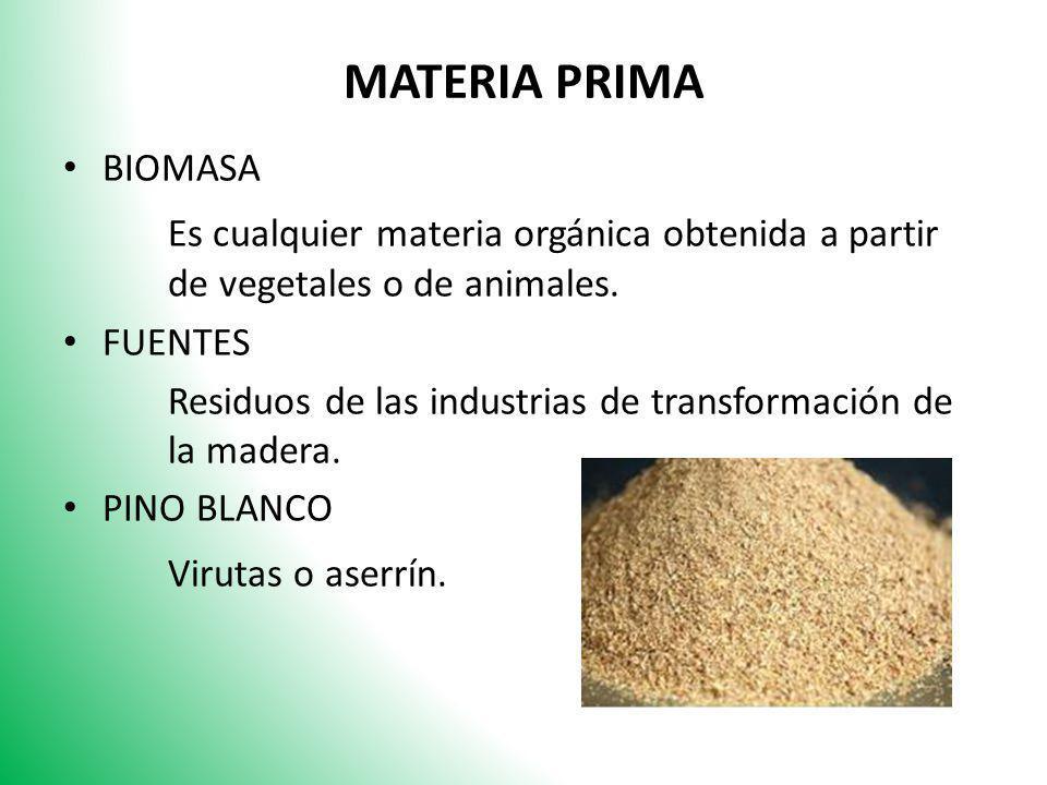 MATERIA PRIMA BIOMASA Es cualquier materia orgánica obtenida a partir de vegetales o de animales. FUENTES Residuos de las industrias de transformación