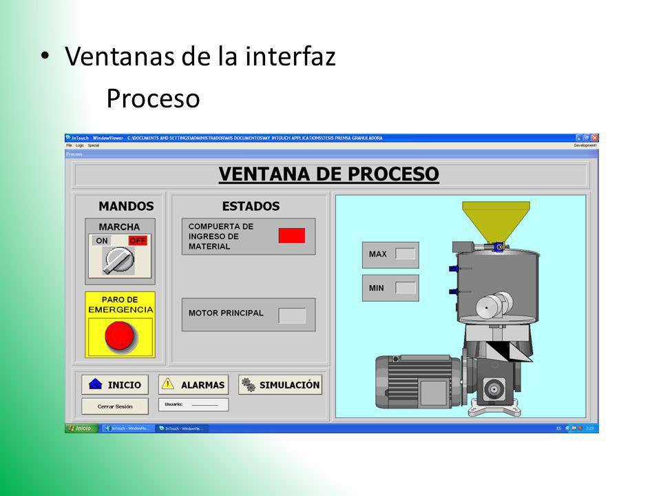 Ventanas de la interfaz Proceso