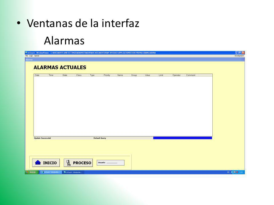 Ventanas de la interfaz Alarmas
