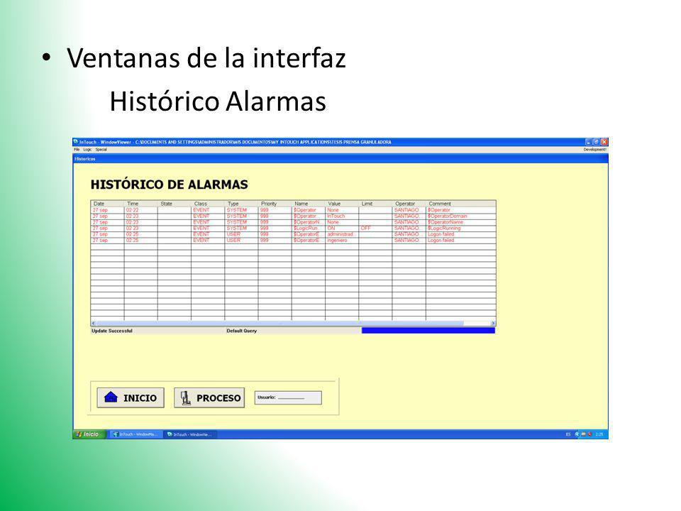 Ventanas de la interfaz Histórico Alarmas