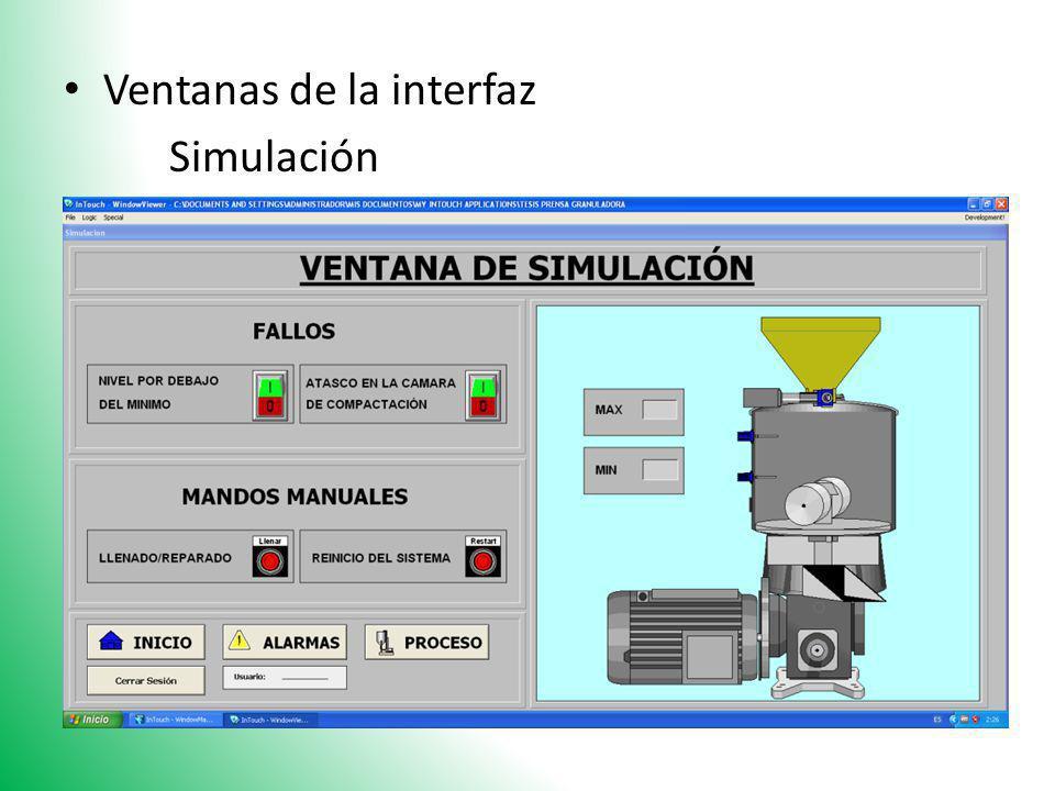 Ventanas de la interfaz Simulación