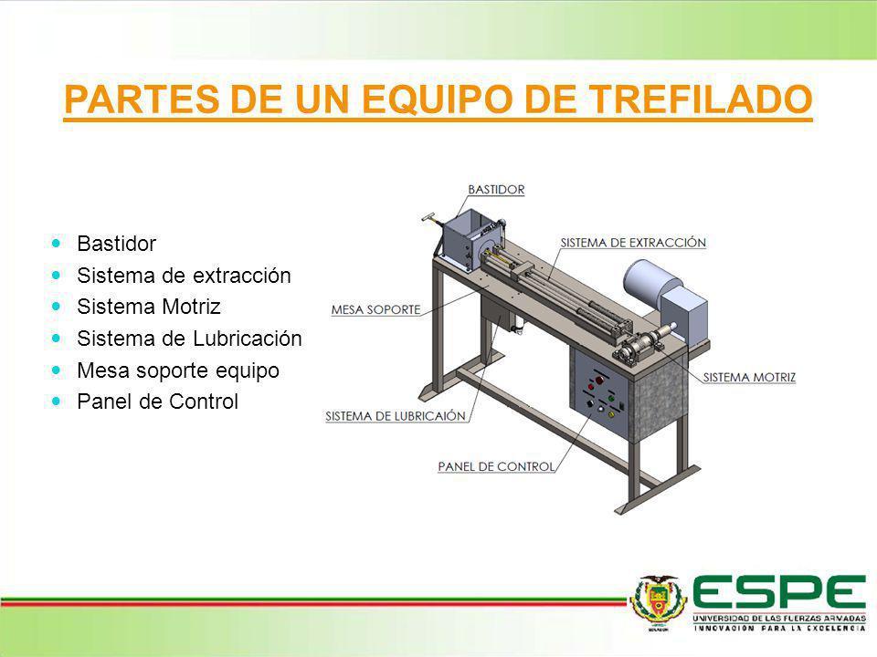 PARTES DE UN EQUIPO DE TREFILADO Bastidor Sistema de extracción Sistema Motriz Sistema de Lubricación Mesa soporte equipo Panel de Control