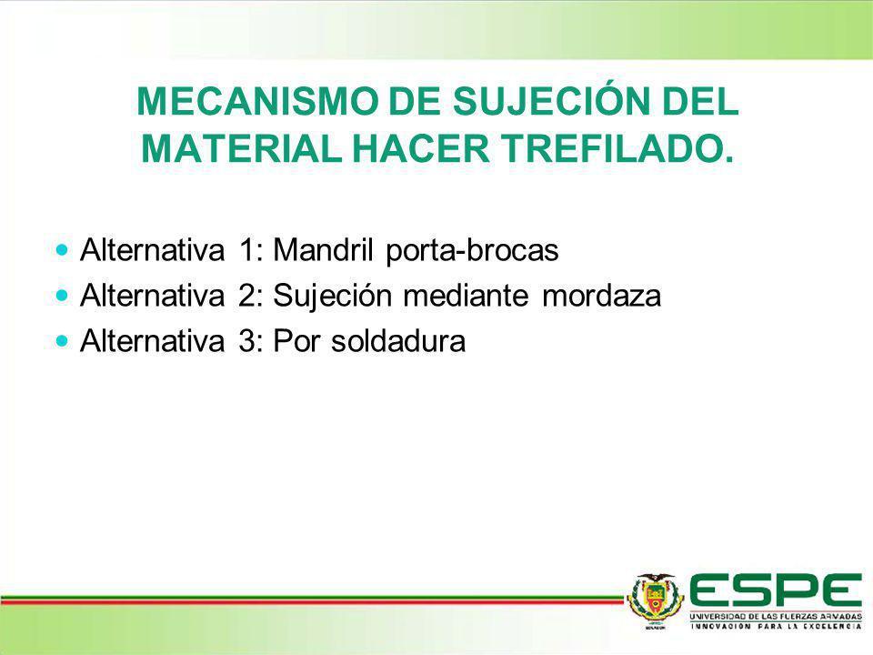 MECANISMO DE SUJECIÓN DEL MATERIAL HACER TREFILADO. Alternativa 1: Mandril porta-brocas Alternativa 2: Sujeción mediante mordaza Alternativa 3: Por so