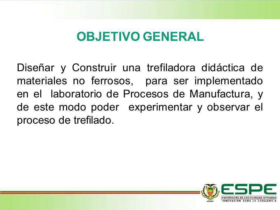 OBJETIVO GENERAL Diseñar y Construir una trefiladora didáctica de materiales no ferrosos, para ser implementado en el laboratorio de Procesos de Manuf