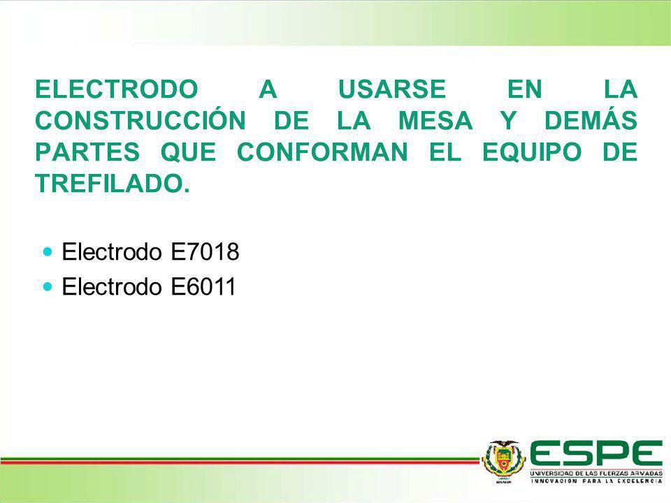 ELECTRODO A USARSE EN LA CONSTRUCCIÓN DE LA MESA Y DEMÁS PARTES QUE CONFORMAN EL EQUIPO DE TREFILADO. Electrodo E7018 Electrodo E6011