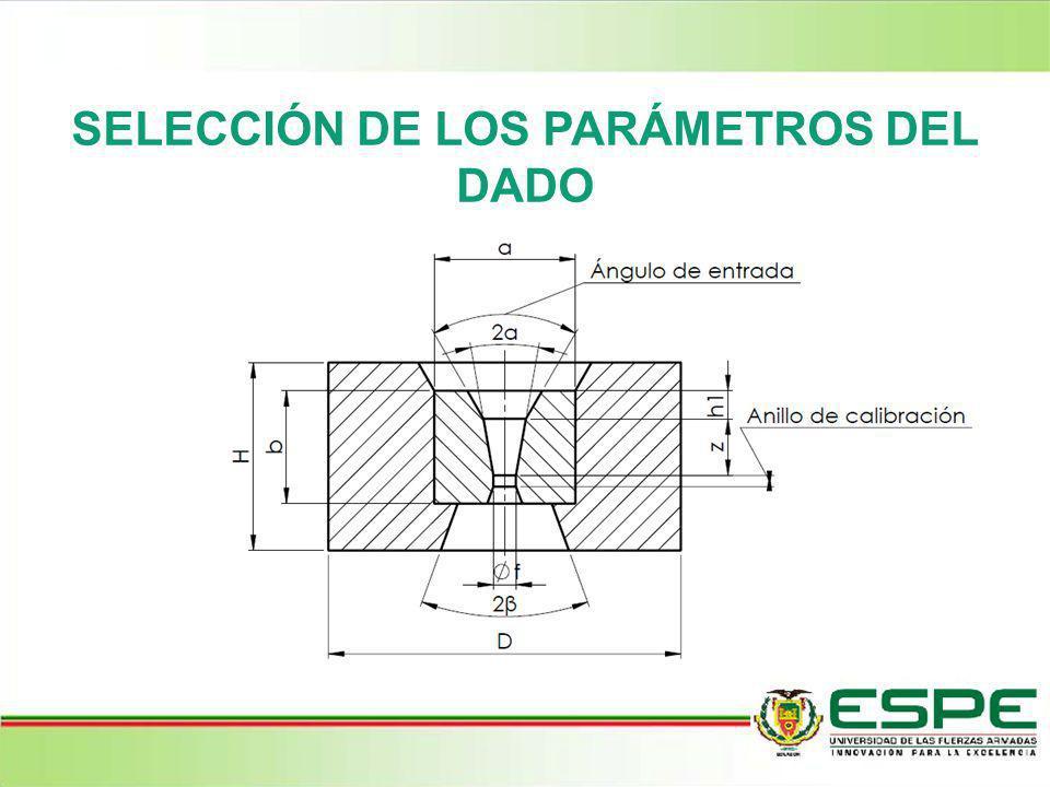 SELECCIÓN DE LOS PARÁMETROS DEL DADO