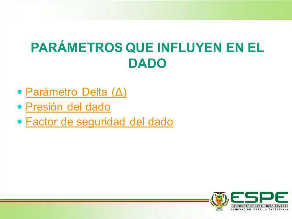 PARÁMETROS QUE INFLUYEN EN EL DADO Parámetro Delta (Δ) Presión del dado Factor de seguridad del dado