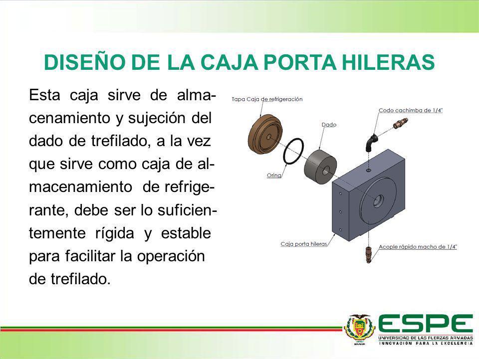 DISEÑO DE LA CAJA PORTA HILERAS Esta caja sirve de alma- cenamiento y sujeción del dado de trefilado, a la vez que sirve como caja de al- macenamiento