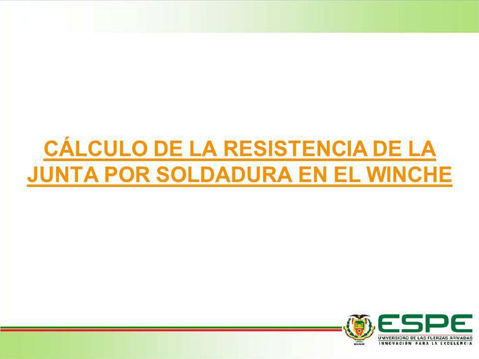 CÁLCULO DE LA RESISTENCIA DE LA JUNTA POR SOLDADURA EN EL WINCHE
