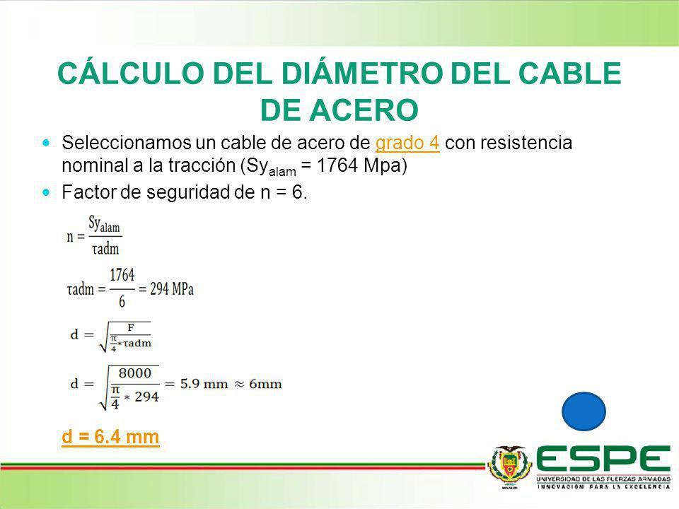 CÁLCULO DEL DIÁMETRO DEL CABLE DE ACERO Seleccionamos un cable de acero de grado 4 con resistencia nominal a la tracción (Sy alam = 1764 Mpa)grado 4 F