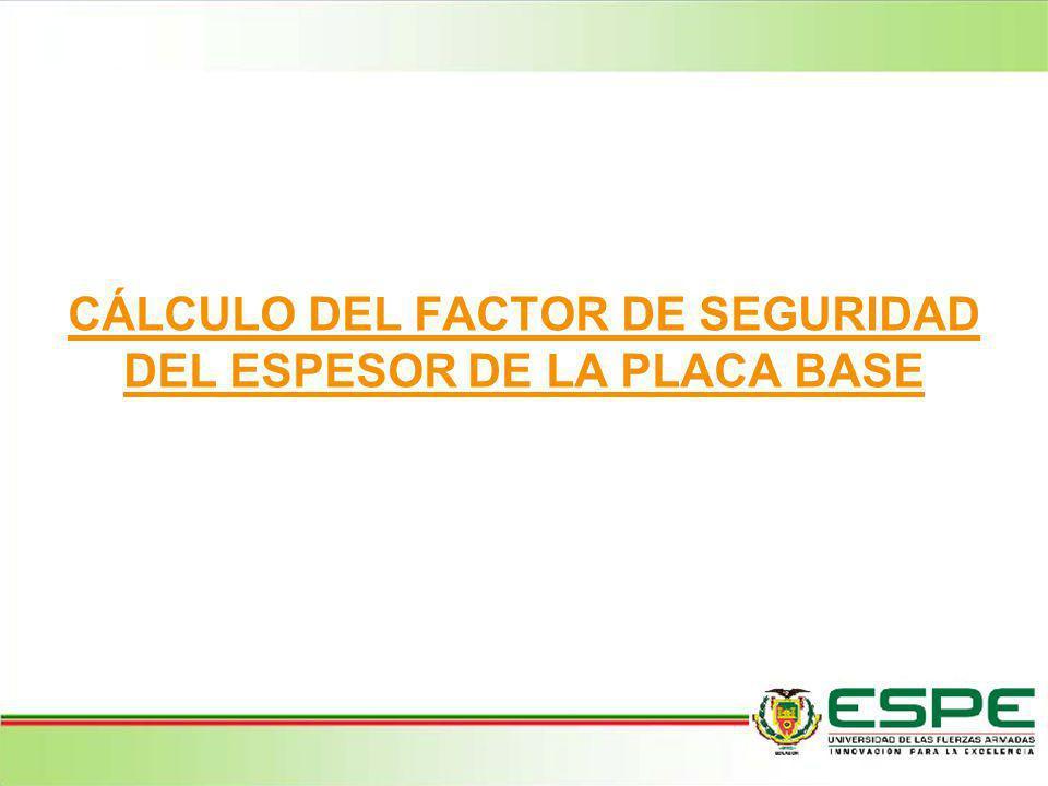 CÁLCULO DEL FACTOR DE SEGURIDAD DEL ESPESOR DE LA PLACA BASE