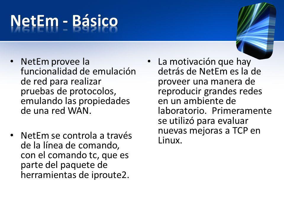 NetEm provee la funcionalidad de emulación de red para realizar pruebas de protocolos, emulando las propiedades de una red WAN. NetEm se controla a tr