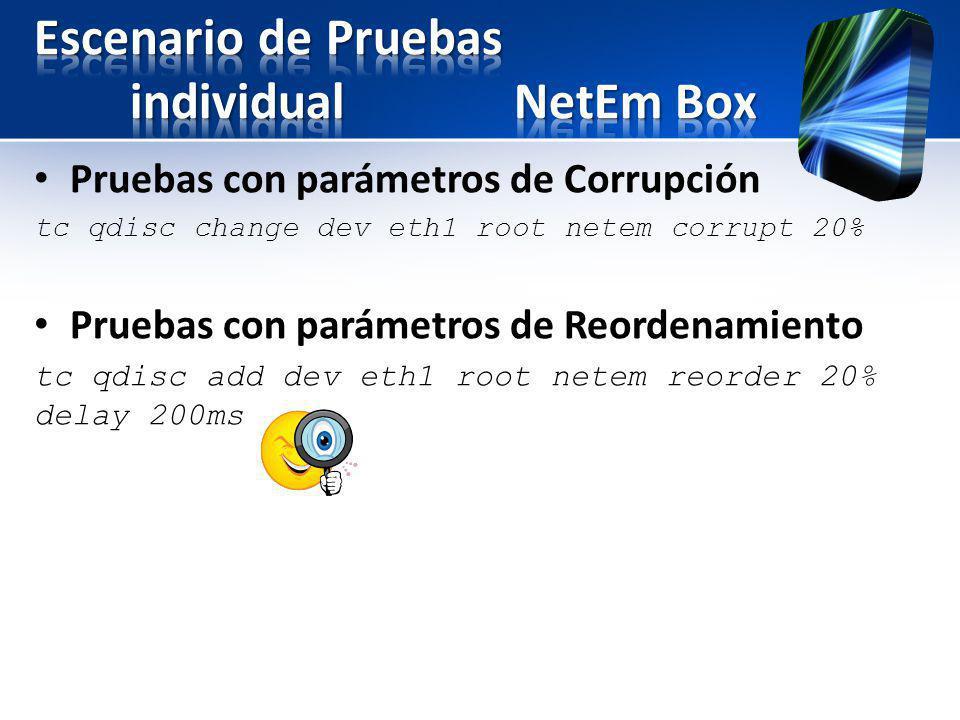 Pruebas con parámetros de Corrupción tc qdisc change dev eth1 root netem corrupt 20% Pruebas con parámetros de Reordenamiento tc qdisc add dev eth1 ro