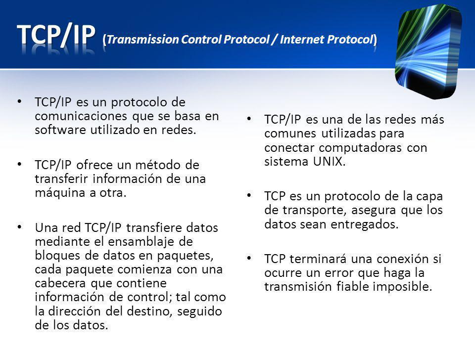TCP/IP es un protocolo de comunicaciones que se basa en software utilizado en redes. TCP/IP ofrece un método de transferir información de una máquina
