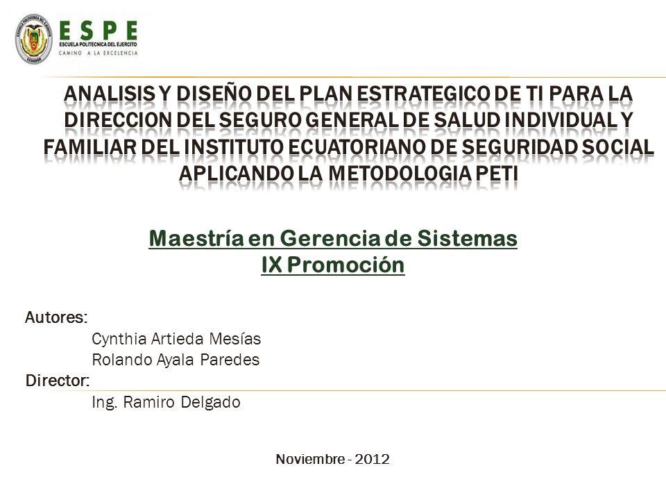Maestría en Gerencia de Sistemas IX Promoción Autores: Cynthia Artieda Mesías Rolando Ayala Paredes Director: Ing. Ramiro Delgado Noviembre - 2012