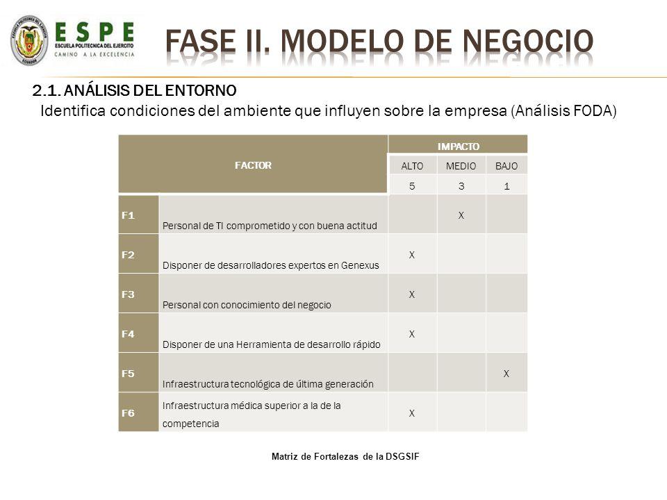 2.1. ANÁLISIS DEL ENTORNO Identifica condiciones del ambiente que influyen sobre la empresa (Análisis FODA) Matriz de Fortalezas de la DSGSIF FACTOR I