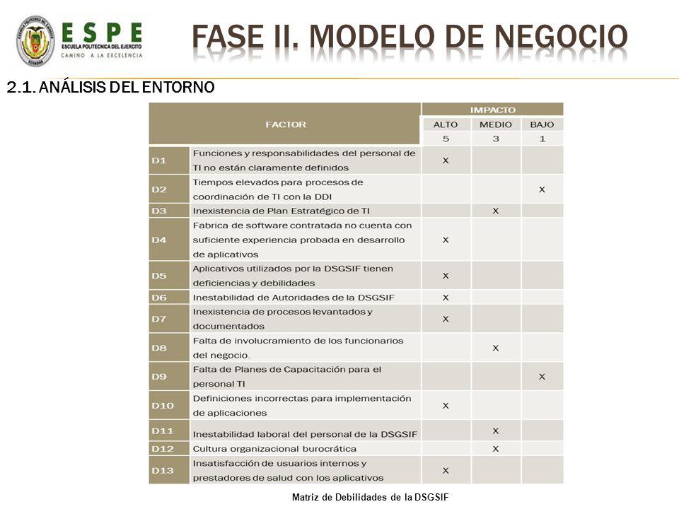 2.1. ANÁLISIS DEL ENTORNO Matriz de Debilidades de la DSGSIF